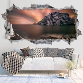 Vinyle murs crépuscule îles lofoten norvège 3d