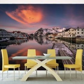 Papiers peints murs îles lofoten norvège