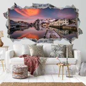 Autocollants décoratifs 3d crépuscule îles lofoten norvège