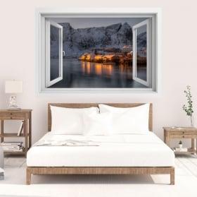 Vinyle îles lofoten norvège fenêtre 3d