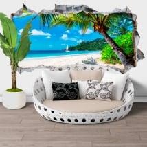 Stickers muraux jamaïque palmier sur la plage trou 3d