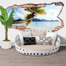 Vinyle murs palmier îles seychelles trou 3d