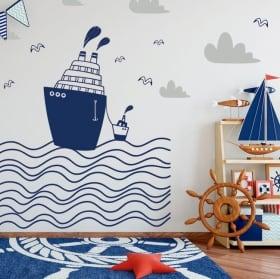 Vinyle pour enfants bateaux dans la mer