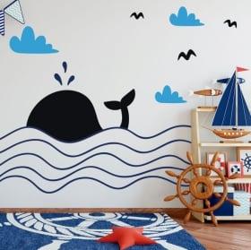 Vinyle décoratif enfants baleine dans la mer