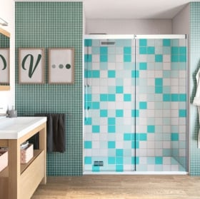 Vinyle écran de bain couleurs carrées
