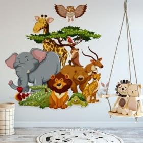 Vinyle décoratif enfants animaux de zoo