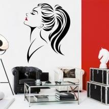 Vinyle murs et fenêtres silhouette de femme