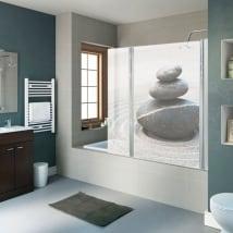 Vinyle écrans de salle de bain pierres zen