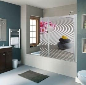 Vinyle décoratif pierres zen écrans toilettes