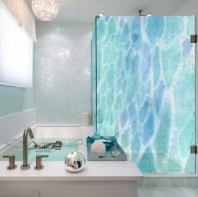 Vinyle écrans de bain couleurs aquarelles
