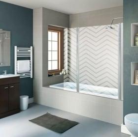 Vinyle écrans de bain lignes en zigzag