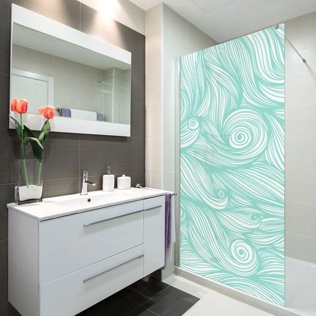 Vinyle écrans de bain vagues de la mer