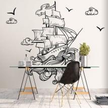 Vinyle murs bateau dans la mer