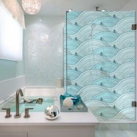 Vinyle écrans de bain vagues