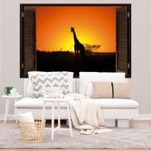 Stickers muraux girafe au coucher du soleil fenêtre 3d
