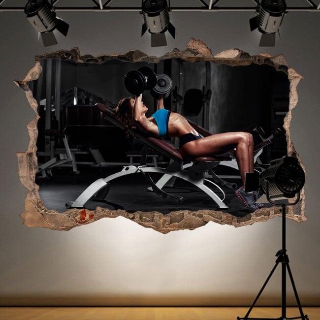 Stickers muraux salle de gym 3d