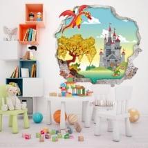 Vinyle murs les enfants dragon et château 3d