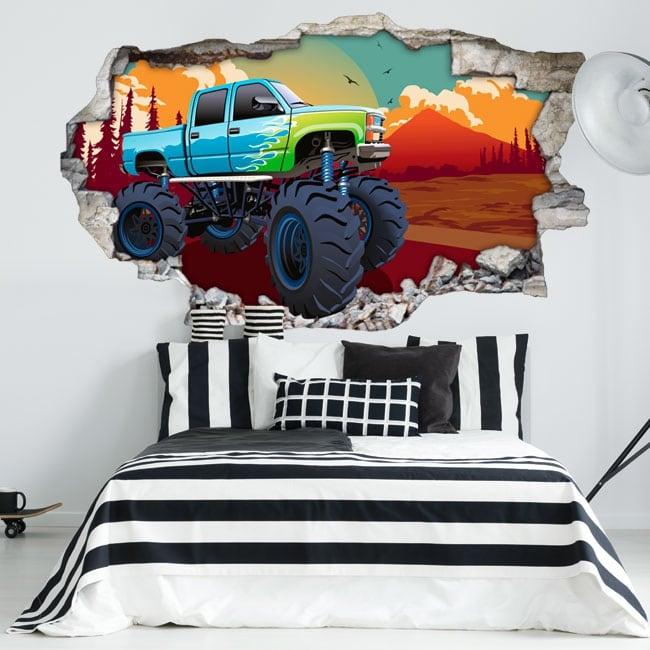 Vinyle murs monster truck 3d