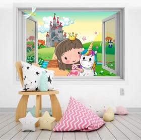 Vinyle pour enfants princesse et licorne 3d