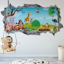 Vinyle murs les enfants animaux de la nature 3d