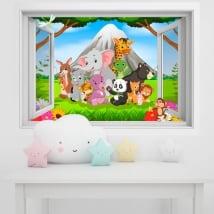 Vinyle murs les enfants animaux dans la jungle 3d