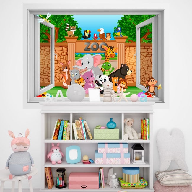 Vinyle murs les enfants animaux dans le zoo 3d