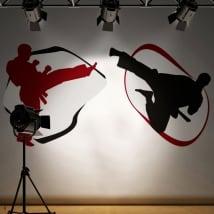 Vinyle murs karate-do silhouettes
