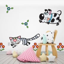 Vinyle murs des fleurs chien et chat