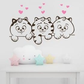 Vinyle décoratif murs chats et coeurs