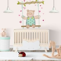 Vinyle murs les enfants ours et balançoire
