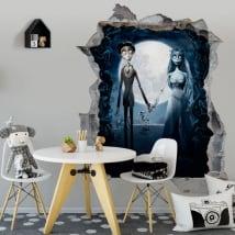 Vinyle décoratif la mariée cadavre tim burton 3d