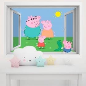 Vinyle les murs des enfants peppa pig 3d