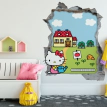 Vinyle hello kitty mur de trou 3d