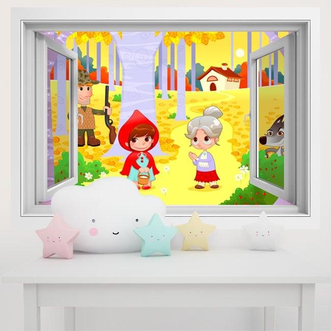 Vinyle murs les enfants petit chaperon rouge 3d