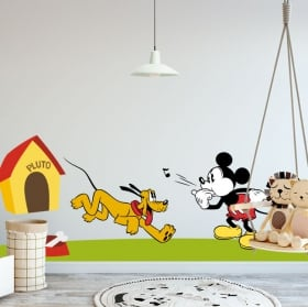 Vinyle mickey mouse et pluto disney