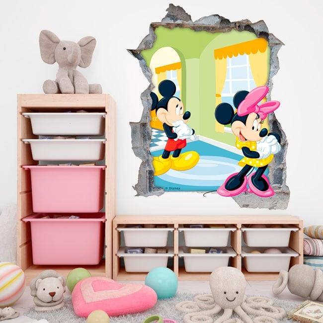 Vinyle murs disney mickey et minnie mouse 3d