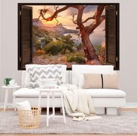 Vinyle décoration murale côte du lever du soleil de la crimée 3d