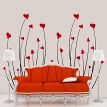 Vinyle décoratif coeurs fleurs