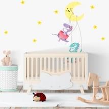 Vinyle chambres d'enfants dinosaures lune et étoiles