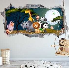 Vinyle décorer les chambres des enfants animaux de la nature 3d