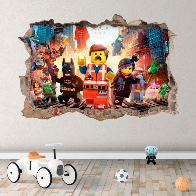 Vinyle mur de trou 3d le lego