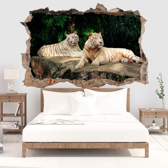 Vinyle décoratif tigre blanc 3d