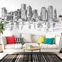 Vinyle et autocollants dessin skyline boston