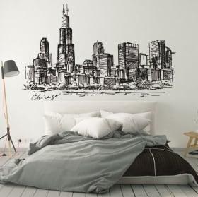 Vinyle et autocollants dessin ville de chicago