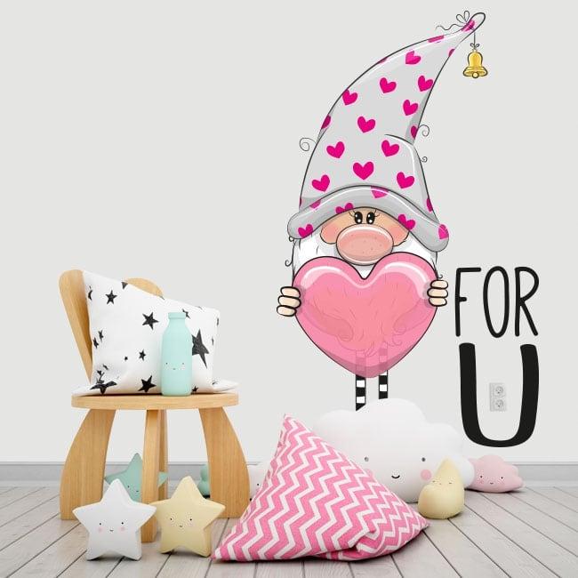 Vinyle et autocollants gnome coeur pour toi