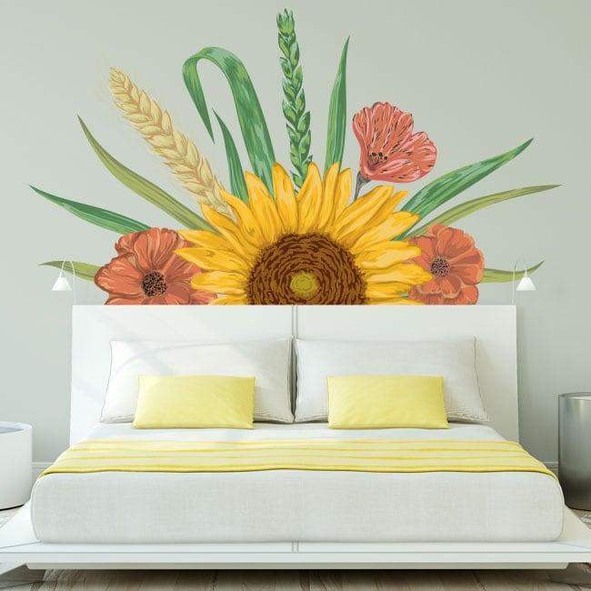 Stickers muraux décoration tournesol et fleurs
