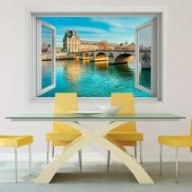 Vinyle murs pont du carrousel sena river france 3d