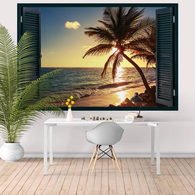 Vinyle murs fenêtre coucher de soleil sur la plage 3d