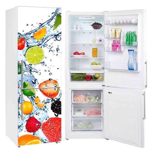 Vinyles pour réfrigérateurs fruits éclaboussures d'eau