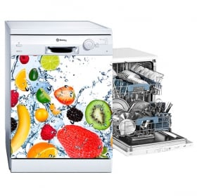 Vinyle pour lave-vaisselle fruits éclaboussures d'eau